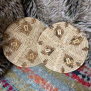 Vintage boho grass wicker trivets hot pads plants